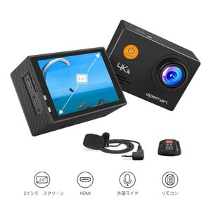 新型 APEMAN A79 アクションカメラ 4K高画質 1600万画素 外部マイク リモコン付き ...