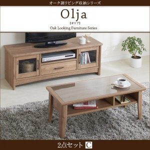 リビング家具 2点セット 〔テレビボード+ローテーブル〕 オーク調 モダン table-lukit