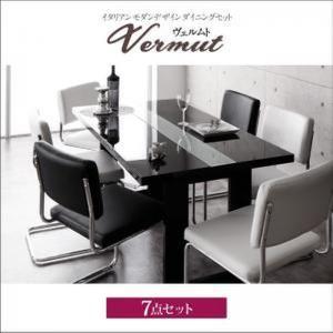 ダイニングテーブル 鏡面 UV塗装 7点セット 〔テーブル幅150cm+チェア6脚〕|table-lukit