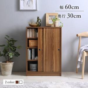 棚 ラック スリム 壁付け 木製 〔幅60cm×奥行30×85cm〕 スマートな引き戸収納|table-lukit