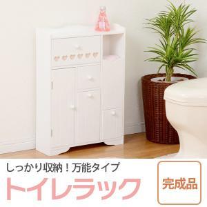 トイレラック/トイレ収納棚 〔幅45cm〕 木製 スリム ホワイト(白) 〔完成品〕|table-lukit