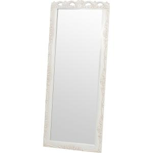 スタンドミラー 白 シャビー 姿見鏡 木製 幅70cm 高さ170cm  〔立てかけタイプ〕 転倒防止用チェーン付き table-lukit