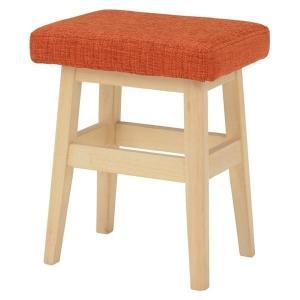 スツール 木製 高さ45cm 〔ナチュラル×オレンジ〕 北欧風 腰掛け椅子 座面/ファブリック 〔完成品〕|table-lukit