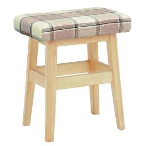 スツール 木製 高さ45cm 〔ナチュラル×チェック〕 北欧風 腰掛け椅子 座面/ファブリック 〔完成品〕|table-lukit