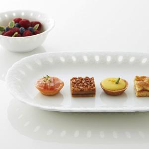 エコール ロングトレー 白 食器 おしゃれ サンドイッチ プレート 皿 トレー 白磁 透かし 日本製...
