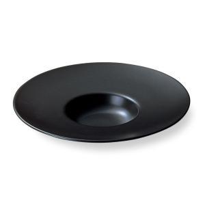 ワイドリム 29cm平型スープ皿 黒マット tablewareshop