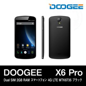 【5.5インチ 5.5型】DOOGEE X6 Pro Dual SIM 2GB RAM スマートフォン 4G LTE MTK6735 ブラック|tabtab