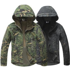 2018年モデル フード付き シャークスキン ソフトシェルジャケット / マルチカム ブラック トロピック