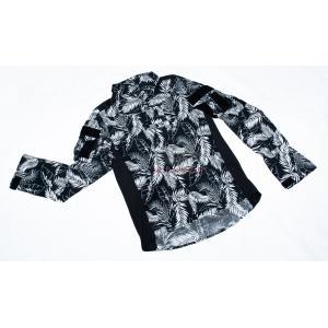 ハワイアンフラワー 花柄 コンバットシャツ ブラック/  男女兼用 tac-zombiegear