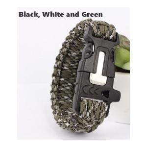 緊急ギアキット「 エスケープ パラコードブレスレット」 / Black White Green【ポスト投函商品】|tac-zombiegear
