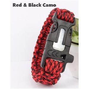 緊急ギアキット「 エスケープ パラコードブレスレット」 / Red Black Camo【ポスト投函商品】|tac-zombiegear