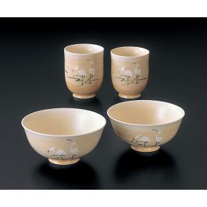 人気のロングセラー。夫婦茶碗・湯呑のセットです。 つがいの鶴は永遠の愛と長寿の象徴です。  サイズ ...