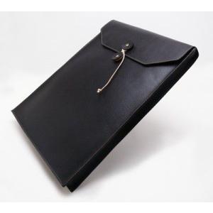 A4サイズ書類入れ 封筒型レザーケース 本革 ビジネスバック A4縦長タイプ ブラック