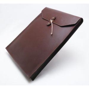 A4サイズ書類入れ 封筒型レザーケース 本革 ビジネスバック A4縦長タイプ ダークブラウン|tackcraft