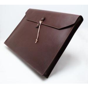 A4サイズ書類入れ 封筒型レザーケース 本革 ビジネスバック A4横長タイプ ダークブラウン
