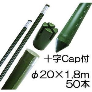 園芸支柱 イボ付 鋼管竹 十字キャップ付 φ20mm×1.8m 50本単位 シンセイ tackey