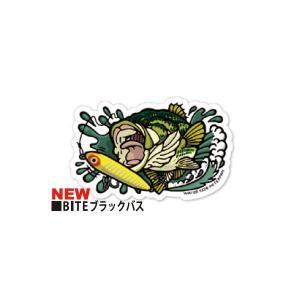 【メール便OK】 ウォーターサイドピーターパン BITEブラックバスステッカー Rサイズ|tackleislandsukimaru