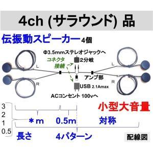 伝振動スピーカー4ch(サラウンド)ステレオプラグ付きセット 壁板や窓がスピーカーになる 貼替簡単×小型大音量|tafuon