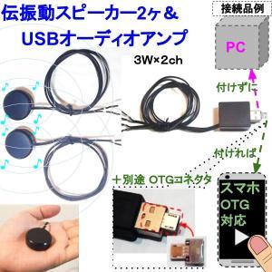 伝振動スピーカー2個&USBオーディオアンプ 壁板や窓がスピーカーになる 貼替簡単×小型大音量|tafuon