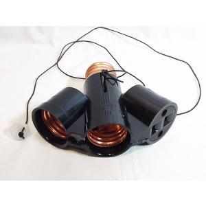 E26口金の電球ソケットを2口とコンセントに引っ張りスイッチ付  Panasonic製WH1031|tafuon