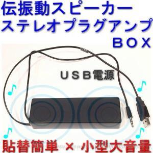 伝振動スピーカーステレオプラグアンプBOX USBコネクタ電源 壁板や窓がスピーカーになる 貼替簡単×小型大音量|tafuon