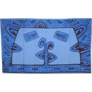 送料無料 アリークリエーションタヒチ パレオ ポリコットン タパ柄(ブルー) ARII CREATION TAHITI タヒチのブランド タヒチ直輸入品 |tahiti-surf