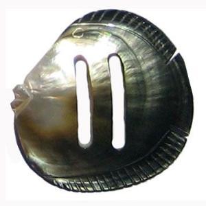 タヒチ産アクセサリー ハンドメイド1点物・シェルパレオループ(フィッシュ) パレオ止め  天然の貝で手作り品 |tahiti-surf