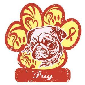 リボンマグネット パウリボン HAPPY DOG パグ Lサイズ ドッグシリーズ レトロハワイ風 売上の一部が募金 盲導犬 メール便で送料無料 |tahiti-surf