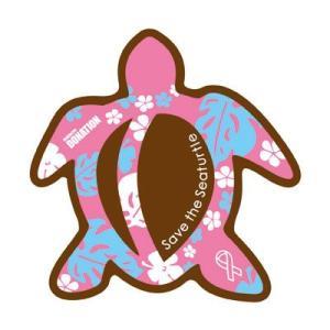 ホヌリボンマグネット ホヌ型  パターン ブラウン / ピンク S-size  RibbonMagnet 亀 メール便で送料100円|tahiti-surf