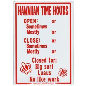 Hawaiian Sign Board ハワイアンサインボード HAWAIIAN TIME HOURS 看板 ハワイアン雑貨 |tahiti-surf