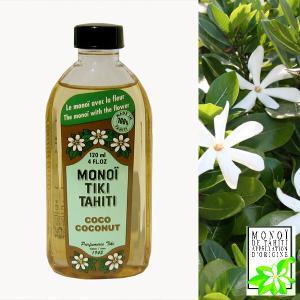 タヒチ産 タヒチモノイティアレオイル 120ml(ココナッツ) MONOI TIKI TAHITI COCONUT 化粧油 MADE IN TAHITI モノイオイル DM便不可|tahiti-surf