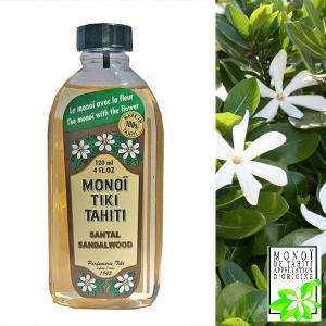タヒチ産 タヒチモノイティアレオイル 120ml サンダルウッド SANDALWOOD MONOI TIKI TAHITI TIARE 化粧油 MADE IN TAHITI モノイオイル DM便不可|tahiti-surf