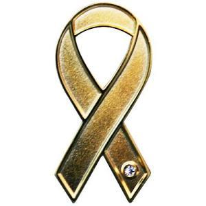 リボンピンバッジ バッチ ゴールド 小児がん患者とその家族への理解 バッチ 癌 襟 メール便で 送料無料 バッチ ブローチ チャリティー 小児癌 支援|tahiti-surf