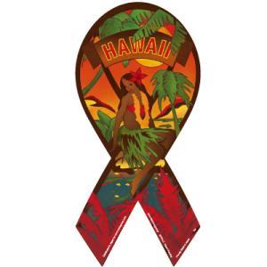 ハワイキリボンマグネット Hawaiki Ribbon Magnet サンセット sunset フラダンス ハワイアンブランド 売上の一部が寄付 メール便で送料無料|tahiti-surf