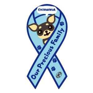 リボンステッカー Ribbon Sticker/ドッグシリーズ  チワワ(ブルー)シール DOG 犬  売上の一部が募金に メール便で送料100円|tahiti-surf