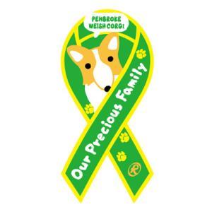 リボンステッカー Ribbon Sticker/ドッグシリーズ  ウェルシュコーギー(グリーン)シール DOG 犬  売上の一部が募金に メール便で送料100円|tahiti-surf