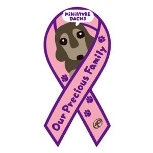 リボンステッカー Ribbon Sticker/ドッグシリーズ  ミニチュアダックス(パープル)シール DOG 犬  売上の一部が募金に メール便で送料100円|tahiti-surf