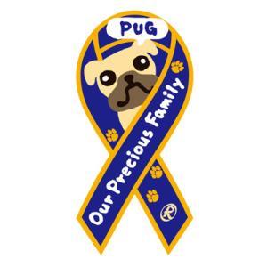リボンステッカー Ribbon Sticker/ドッグシリーズ  パグ(パープル)シール DOG 犬  売上の一部が募金に メール便で送料100円 tahiti-surf