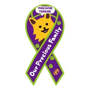 リボンステッカー Ribbon Sticker ドッグシリーズ  ヨークシャーテリア(パープル)シール DOG 犬  売上の一部が募金に メール便で送料100円|tahiti-surf