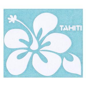 ステッカー ハイビスカスステッカーTAHITIロゴ Lサイズ(転写タイプ) シール 花柄 タヒチ クロネコDM便で送料100円 |tahiti-surf