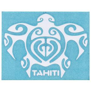 ステッカー ホヌステッカー TAHITIロゴ Lサイズ(転写タイプ) ブラックとホワイトの2種類 シール 亀 タヒチ 白と黒 クロネコDM便で送料100円 |tahiti-surf
