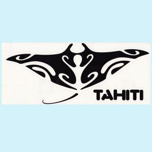 ステッカー マンタステッカーTAHITIロゴ (転写タイプ) ブラックとホワイト2種類 シール manta タヒチ クロネコDM便で送料100円|tahiti-surf