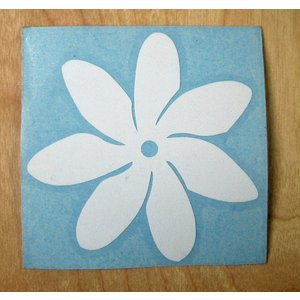 ステッカー ティアレステッカー (転写タイプ) シール TIAREの花 タヒチの国花 白 クロネコDM便で送料100円|tahiti-surf