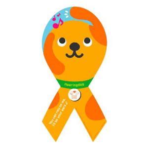 リボンステッカー Ribbon Sticker 聴導犬普及支援  音が聴こえるver DOG 犬  売上の一部が募金に メール便で送料100円|tahiti-surf