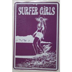 SEAWEED SURF シーウィードサーフ/ブリキ看板 SURFER GIRLS(サーファーガールズ) ハワイアンパーキングサインボード|tahiti-surf
