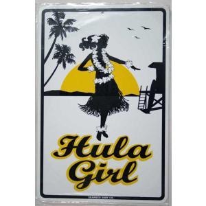 SEAWEED SURF シーウィードサーフ/ブリキ看板 HULA GIRL(フラガール) ハワイアンパーキングサインボード|tahiti-surf