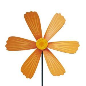 ウインドスピナー SPIN WHEELS オレンジコスモス リアルウッドスピナー 木製風車 ガーデニング アウトドア 店頭ディスプレイ デコレーション ローラ|tahiti-surf