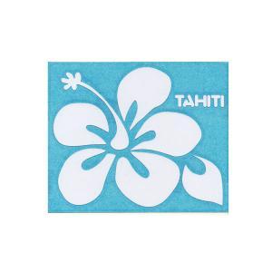 ステッカー ハイビスカスステッカーTAHITIロゴ Mサイズ(転写タイプ) シール 花柄 タヒチ クロネコDM便で送料100円 |tahiti-surf