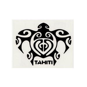 ステッカー ホヌステッカー TAHITIロゴ Mサイズ(転写タイプ) ブラックとホワイトの2種類 シール 亀 タヒチ 白と黒 クロネコDM便で送料100円|tahiti-surf