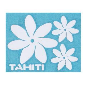 ステッカー NEWティアレステッカーTAHITIロゴ Lサイズ(転写タイプ) シール 花柄 タヒチ クロネコDM便で送料100円 |tahiti-surf